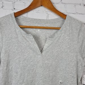 NY&CO Gray T shirt notched V neck